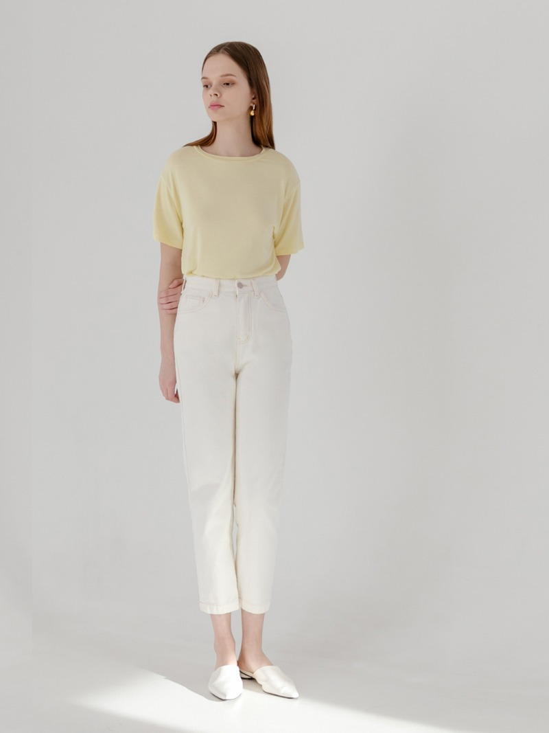 Cream relaxed cropped jeans