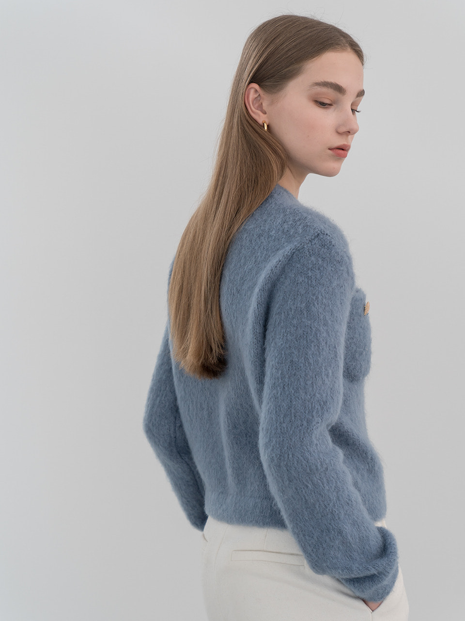 Brushed mohair wool cardigan in skyblue