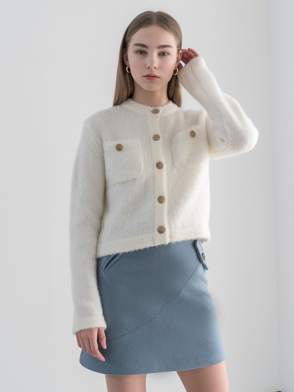 Brushed mohair wool cardigan in ivory