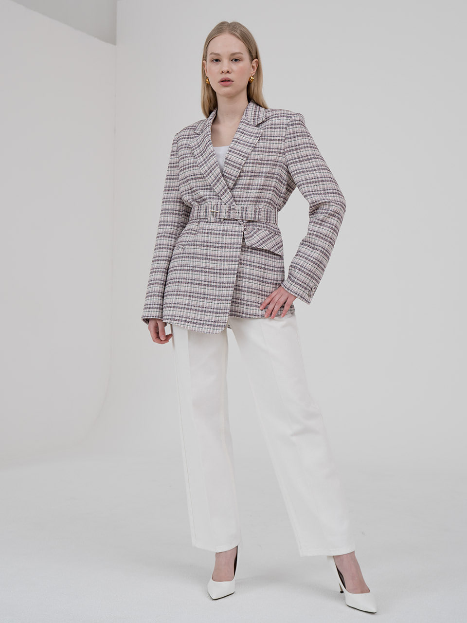 Multi check tailored blazer by tweed