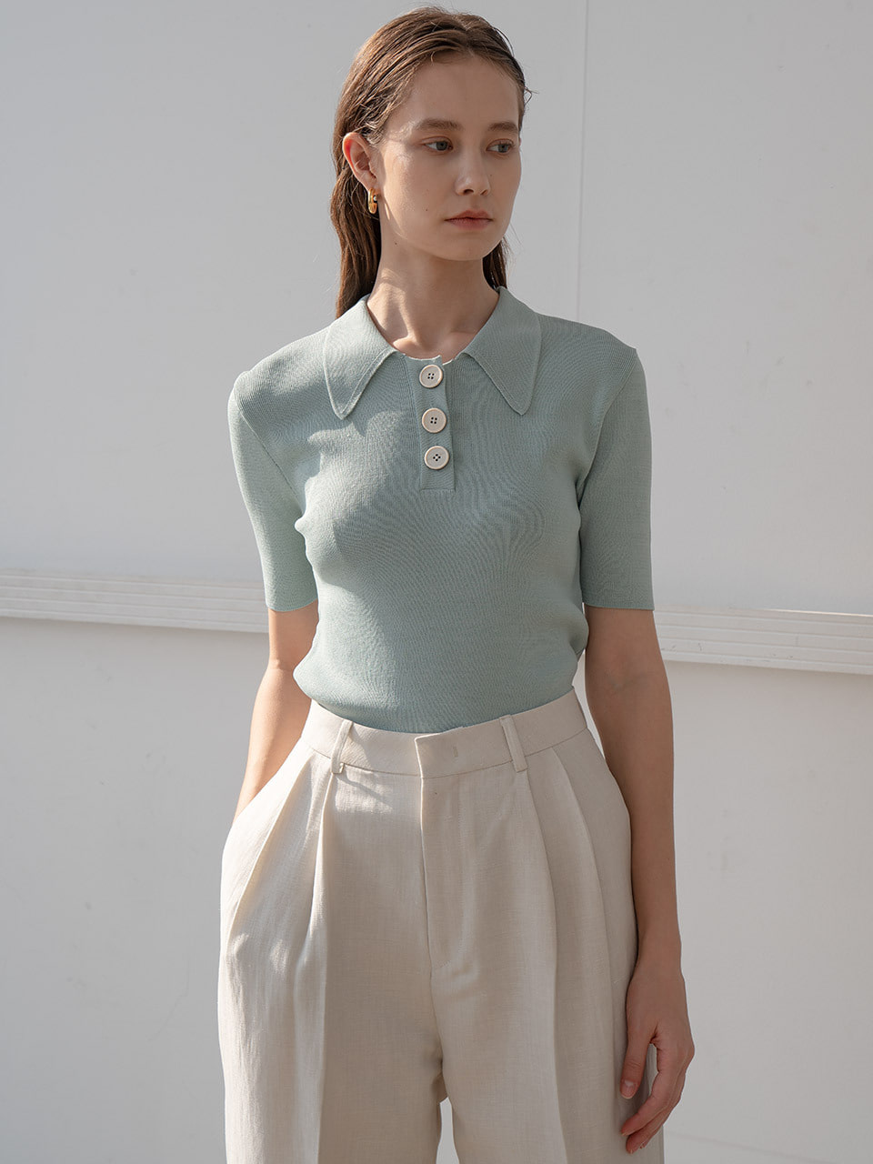 Pastel knit collar tee in mint