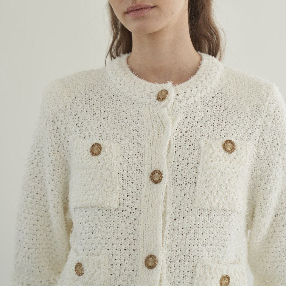 Bronze button pocket cardigan in ivory